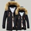 2017 de Invierno gruesa de algodón hombres amantes encapuchados chaqueta acolchada y largas secciones de cuello Nagymaros youth100 % algodón