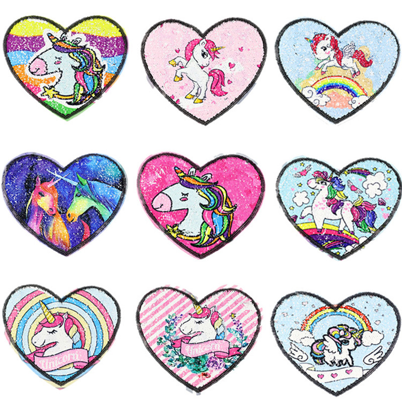 1PC Double-sided Heart Unicorn Reversible Sequins Sew On <font><b>Patch</b></font> For Clothes DIY Crafts <font><b>Coat</b></font> Sweater Embroidered <font><b>Patch</b></font> Applique image