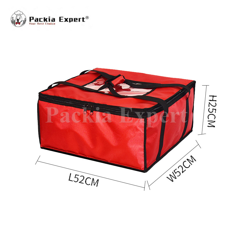 20 x 20 Inch Set of 2 Pizza Delivery Bag Insulated Red