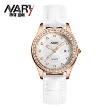 Fashion NARY Brand Women Watch Genuine Leather Strap Rhinestone Wristwatch Elegant Female Dress Quartz Watch relogio
