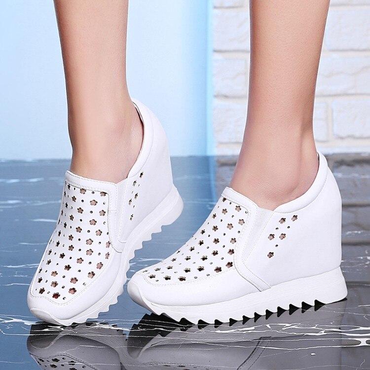 Negro Genuino Zapatos Casuales blanco 2018 Interior De El Bombas Alto Slip en {zorssar} Nuevo Cuero Plataforma Tacón Aumento Mujer xqwXTYTAS