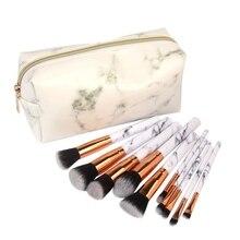 2019 Professional 10pcs Marble Makeup Brushes Set Soft Foundation Powder Eyeshadow Brush Beauty Make Up Tools