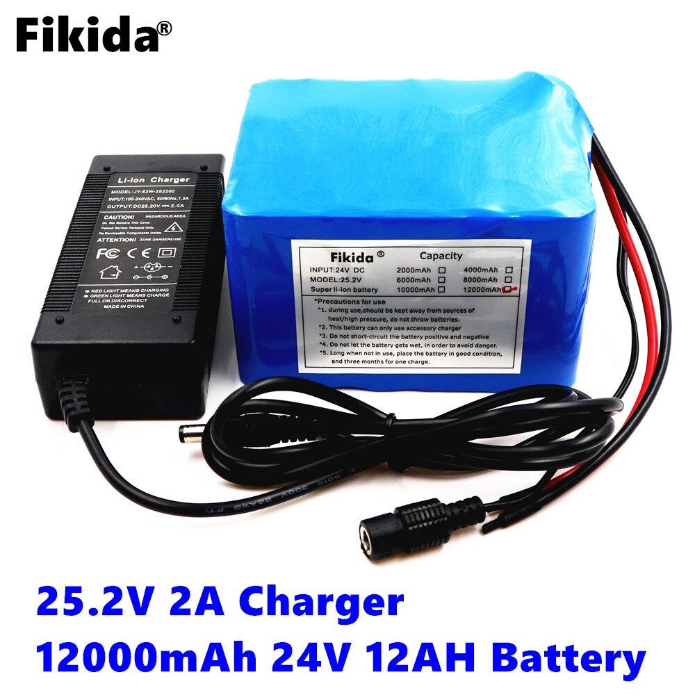 Fikida 24v 12ah 6S6P lithium battery pack 25.2V 12ah battery lithium battery for bicycle battery pack 350w e bike 250w motor wit