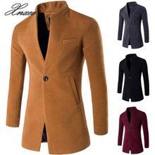 Men Winter Long Coat Slim Cardigan Windbreaker One Button Collar Casual Woolen Overcoat