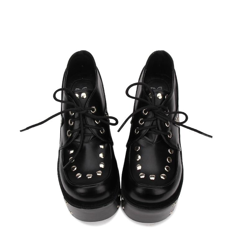 цена на Princess sweet punk shoes Gothic Lolita shoes original head rivet punk tie thick high heeled Muffin Black round head pu8960