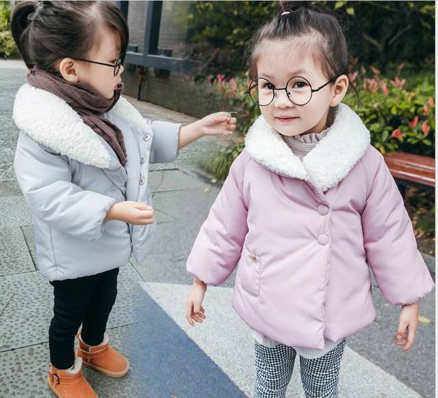 2016 Winter New Girl Coat Fashion Long Sleeve Quilted Thick Outerwear Children Clothes 2-5Y DY8623