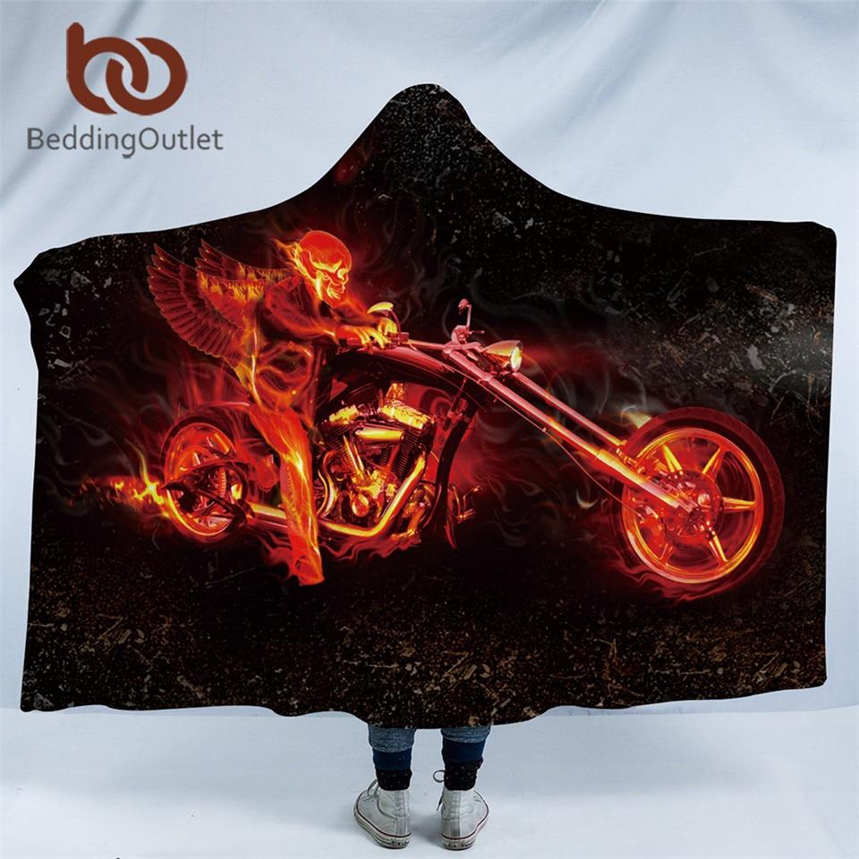 beddingoutlet skull collection hooded blanket for adults flame motorcycle sherpa fleece wearable. Black Bedroom Furniture Sets. Home Design Ideas