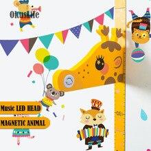 3D мультфильм музыка голова животного с магнитным животным стикер стены Детская спальня украшения Рост Диаграмма наклейка Высота Мера
