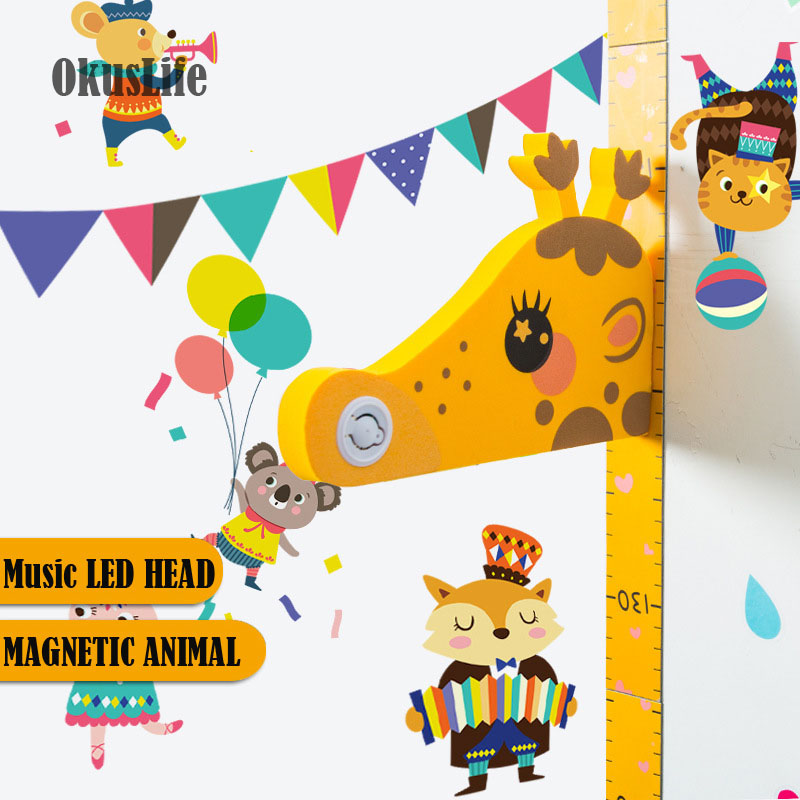 3D Cartoon Music Animal Head With Magnetic Animal Wall Sticker Children Bedroom Decoration Growth Chart Decal Height Measure