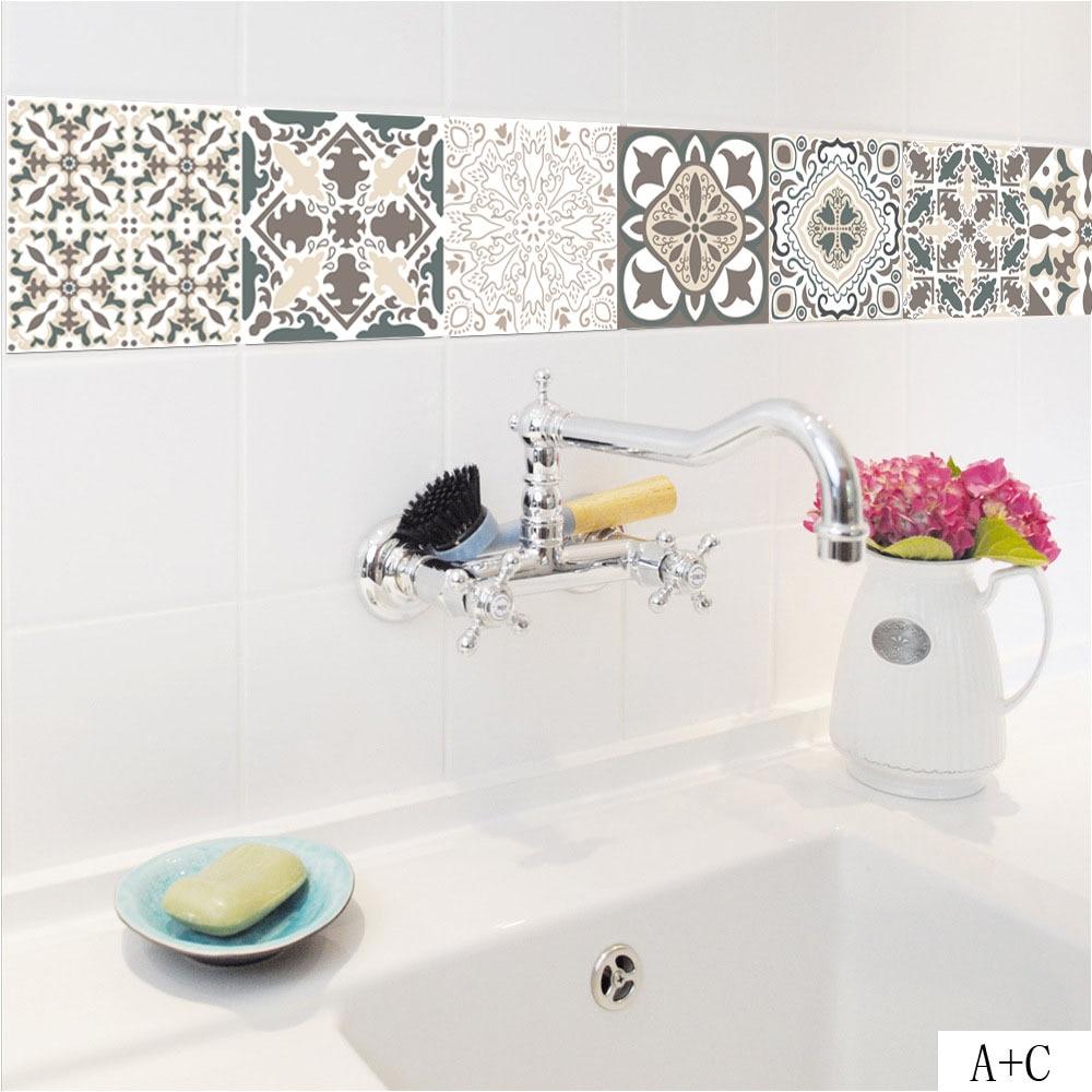 European Style Retro Pattern Tile Floor Sticker PVC Thicker ...