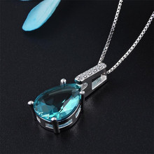 Everoyal Fashion Women Silver 925 Choker Necklace Jewelry Female Zircon Blue Water Drop Pendant Necklace For Lady Accessories exquisite zircon butterfly pendant necklace for women jewelry fashion rose gold lady necklace silver 925 accessories female gift