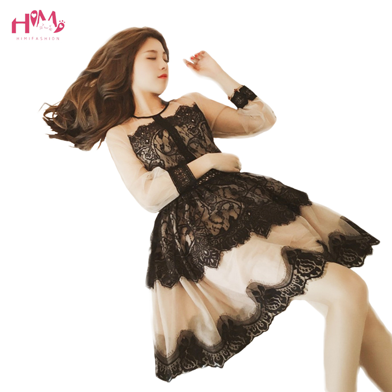 Japanese Vintage Elegant Perspective Lace Tutu Dress Women Summer Korean Fashion Sexy Floral Hollow Tulle Party Mini Dresses