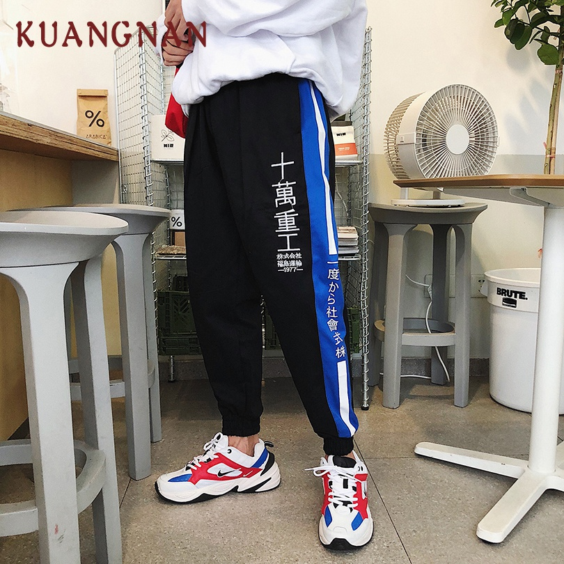 KUANGNAN Pants Casual Joggers Trousers Men Hip-Hop Japanese Striped XXL
