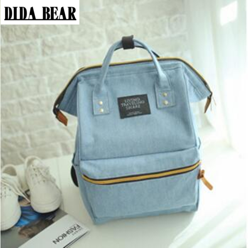 DIDA BEAR Fashion Women Backpacks Female Denim School Bag For Teenagers Girls Travel Rucksack Kanken Space Backpack Sac A Dos