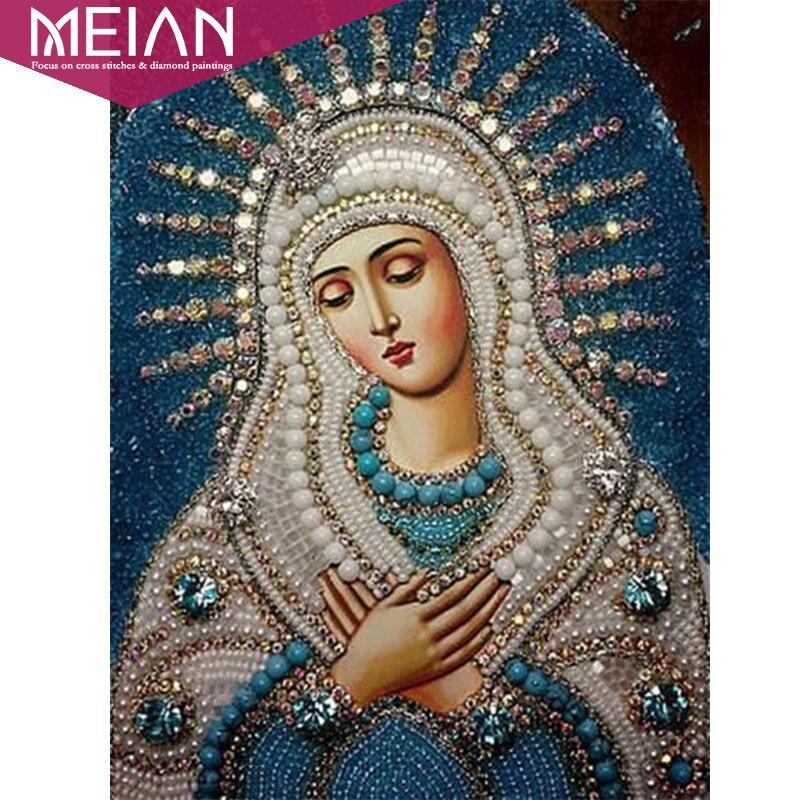 Meian, completo 5d DIY Cuadros de punto de cruz religión icono dirigentes diamante mosaico religioso hombres diamante Bordado rhinestone