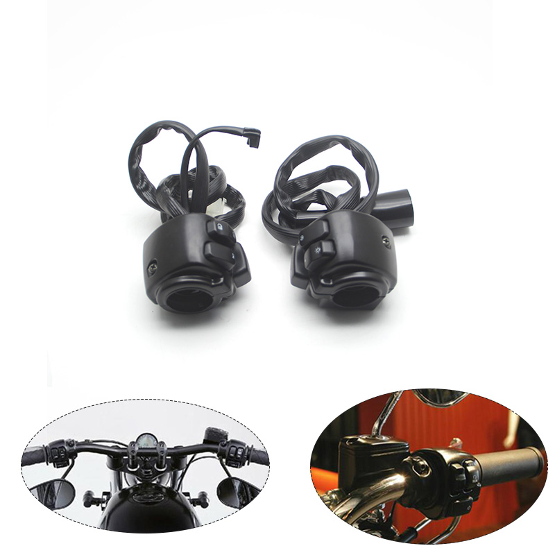 1 25 mm Motorcycle Handlebar Headlight Turn Signal Ignition Horn Control Switch With Wiring Harness For Harley
