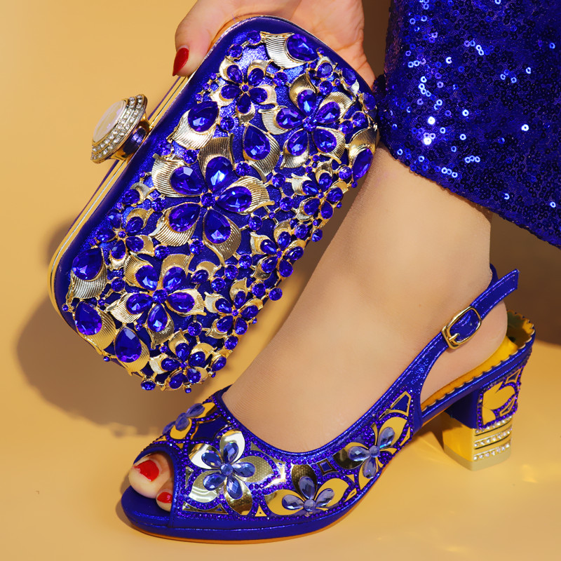 d8128a6a775e07 Latest Fashion African Shoes And Bags Shoes Royal Blue Italian Shoes With Matching  Bags Set For Wedding Women Shoes 38-42