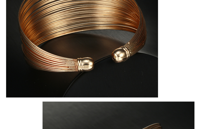CWEEL Fashion Open Bangles For Women Christmas Gifts Vintage Round Dubai Gold Color Bangles Metal Party Cuff Bracelets Jewelry (4)