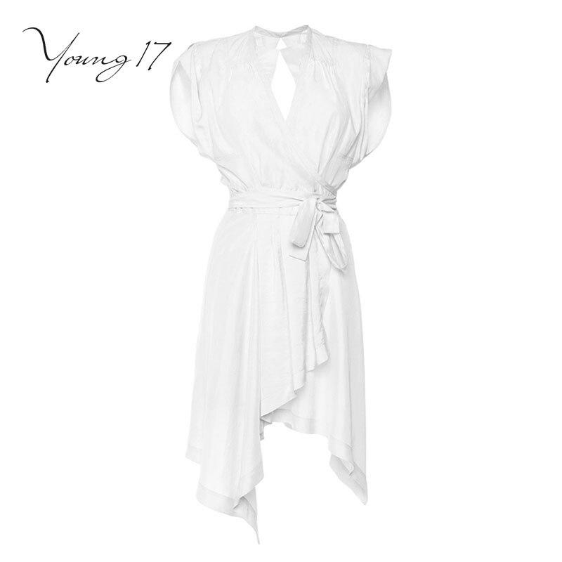 Young17 gadījuma kleita balta džemperis v kakla plain piedurknēm - Sieviešu apģērbs