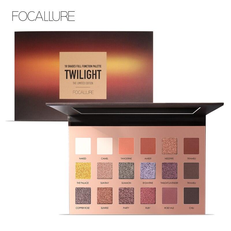 FOCALLURE 18 pcs Altamente Pigmentadas Flash de Brilho Sombra de Olho Shimmer Eyeshadow Fosco com Cores fácil de Usar Eye Maquiagem Diariamente