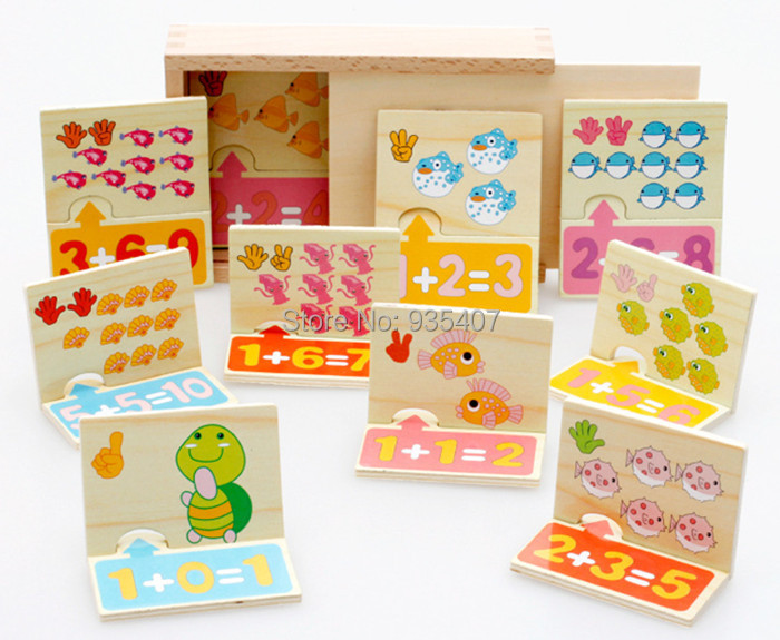 New Wooden animal food pairing plate count digital identification card Baby toy Free shipping