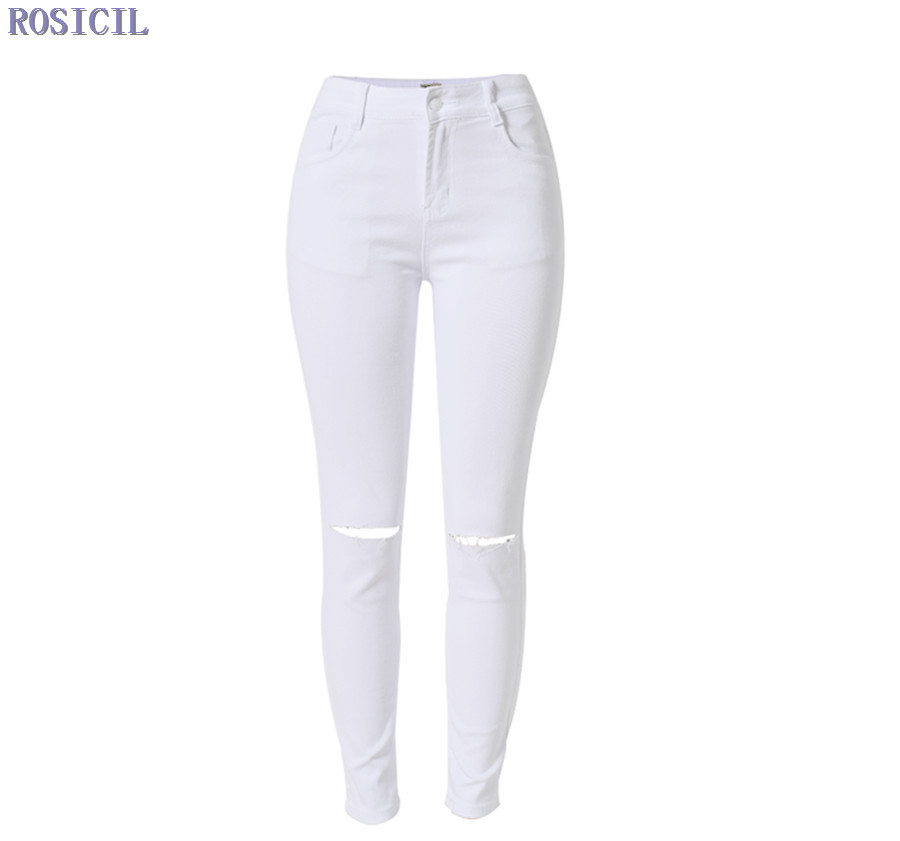 ROSICIL New Fashion 2016 High Elastic Cotton Women's White High Waist  Jeans Ripped Hole Knee Skinny Pencil Pants Slim Capris