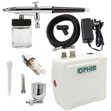 OPHIR Free Shipping Airbrush Spray Paint Golden Air Compressor Kit Makeup Body Tattoo Hobby 100-240V_AC003G+AC005+AC011