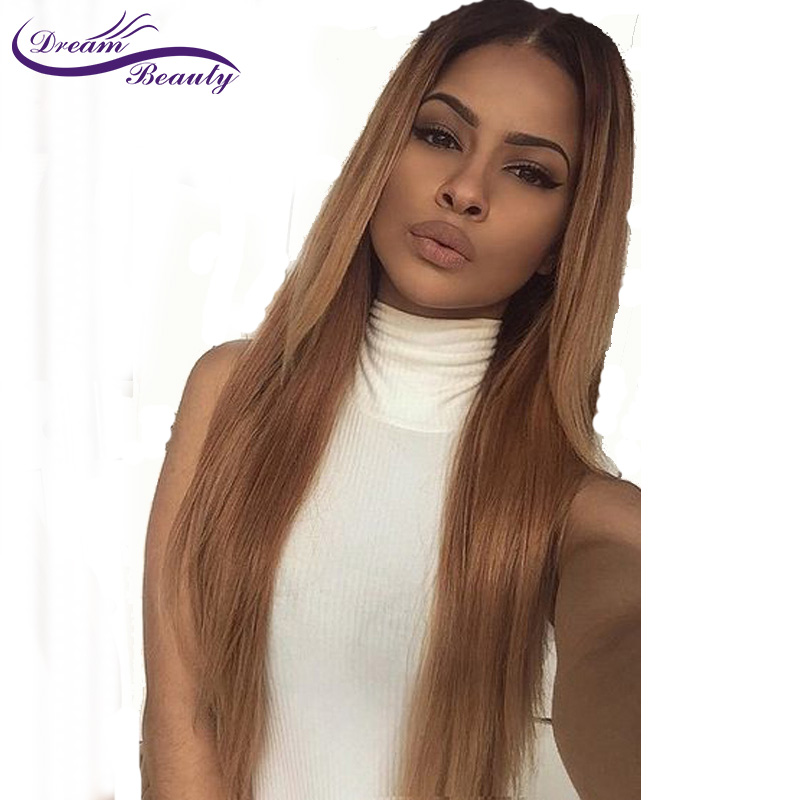 Ombre Color Lace Front Human Hair Wigs with Baby Hair Pre-Plucked Hairline Brazilian Remy Hair Glueless Wigs Dream Beauty