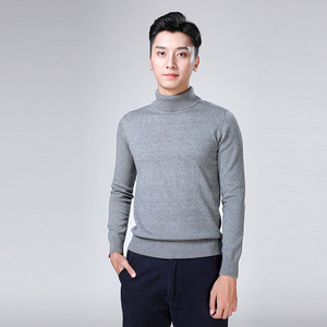 Image 3 - 100% cotton sweater mens 2018 winter turtleneck Long sleeve sweater Thicken Solid color sweater cotton slim bottoming shirt 866