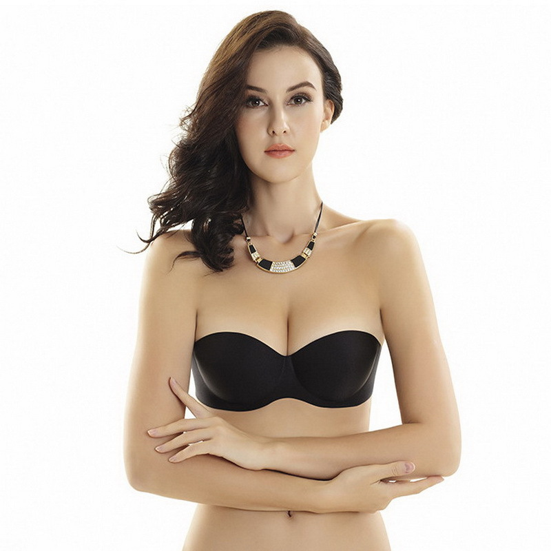 eb20a3e28d79 hot new 1/2 cup sexy sutian Seamless bras invisible a blade Strapless bra  push up 3 breasted glossy adjustable underwear