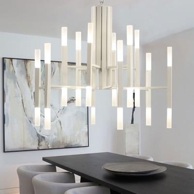 Nordic postmodern LED art villa chandelier living room lobby restaurant gold chandelier creative personality tube lights|Pendant Lights| |  - title=