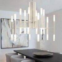 Nordic postmoderne LED art villa kroonluchter woonkamer lobby restaurant gouden kroonluchter creatieve persoonlijkheid buis verlichting-in Hanglampen van Licht & verlichting op