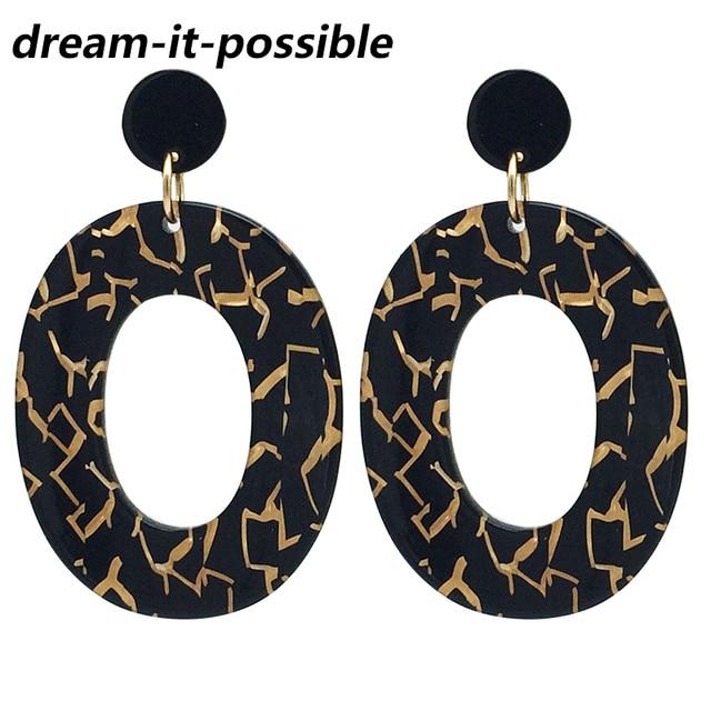 8c5435df3817c US $1.6 39% OFF|Dream it possible 2019 big long vintage wedding Acid  Acrylic Resin hoop Earrings Oval Earrings for Women Long black Earrings-in  Hoop ...