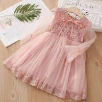Vestido de verano de manga larga de encaje de princesa, fiesta de graduación infantil de 3 a 6, 8, 10 a 12 años, estilo inglés, gasa, 2021