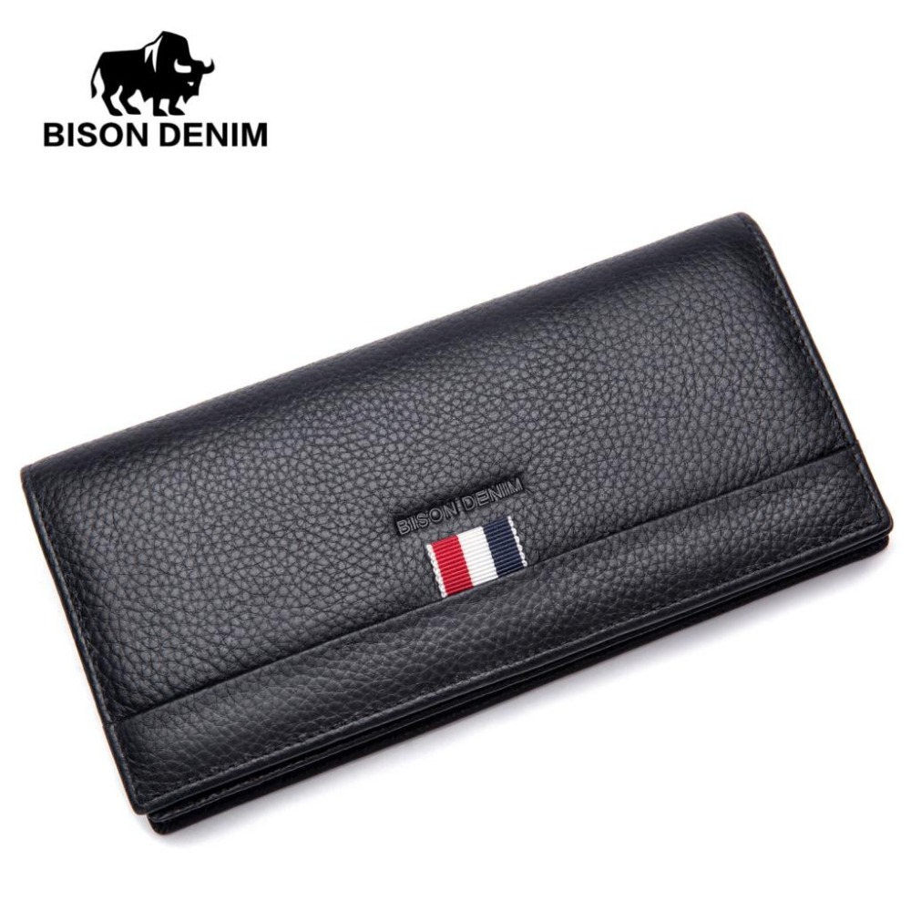 BISON DENIM fashion men wallets genuine leather long slim bifold wallet credit card holder purse 2016 new fashion luxurious brand small mini ultra thin slim wallets men s leather bifold clip wallet id credit card holder