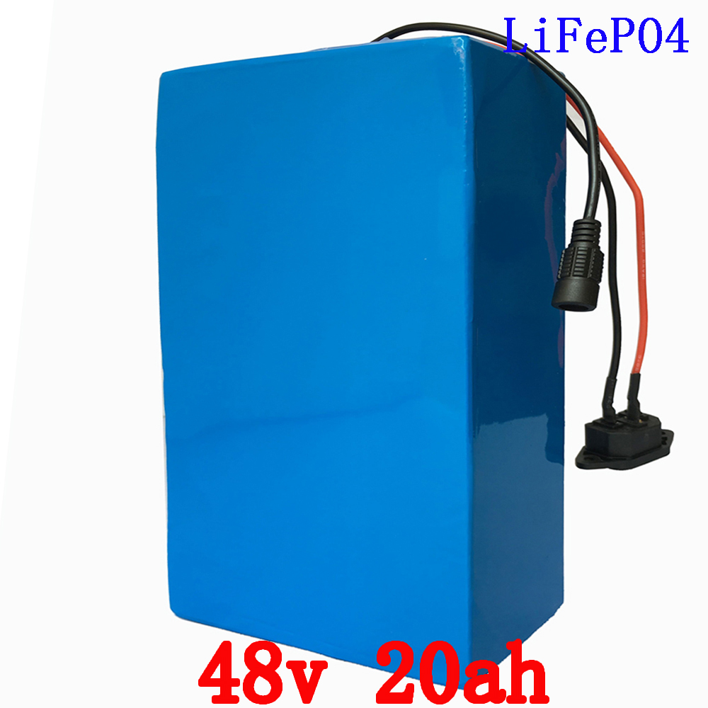 48V 20AH electric bike LiFePO4 battery for 1000W 2000W motor electric wheelchair 1500 times cycle battery with 2A charger