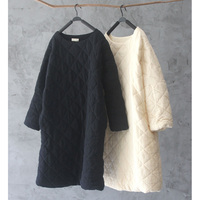 Pressure Cell Cotton Padded Rhombus Cotton Pullover O Neck Medium Long Wadded Jacket Opshacom Thermal Long