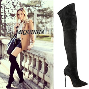 classic style metal fine high heel women long boots over-the-knee suede leather zipper shoes pointed toe simple elegant boots hot selling beige grey suede leather over the knee boots pointed high heel side zipper tight high boots women long boots