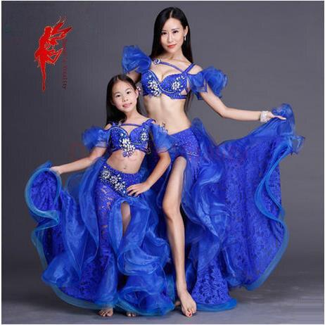 Rhinestones Adult/kids Performance Belly Dance Set Top And Skirt Ballroom Dancer Senior Lace Split Skirt And Crystal Bra