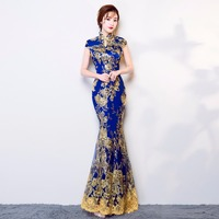 Shanghai Story new arrival long fashion design Sequins lace embroidered mermaid fish tail chinese style cheongsam dress