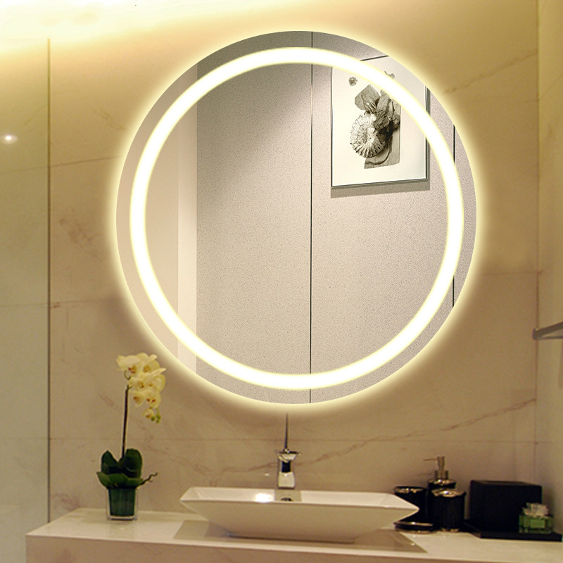 US $281.51 12% OFF|LED light Bathroom wall mirror round wall hanging  washroom toilet makeup mirror touch switch White warm light mx12151606-in  Bath ...