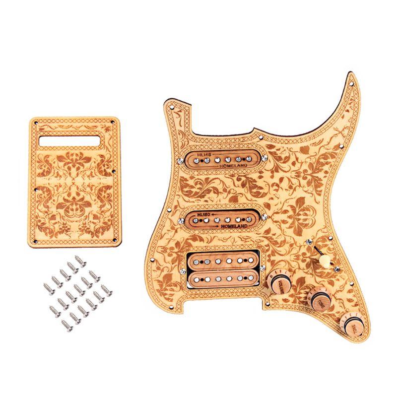 Guitar Pickguard Prewired SSH Set Alnico V Full Wood Style Refined For ST Right HandedGuitar Pickguard Prewired SSH Set Alnico V Full Wood Style Refined For ST Right Handed