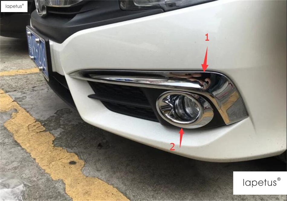 ABS ! Accessories For Honda Civic 2016 2017 Front Fog Lamp Light Ring + Eyebrow Eyelid Molding Cover Kit Trim 4 Piece