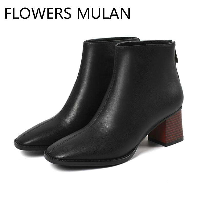 Black White caramel Colour Luxury Real Leather Ankle Boots For Women Square Toe Middle Chunky Heel Ladies Booties Back ZipperBlack White caramel Colour Luxury Real Leather Ankle Boots For Women Square Toe Middle Chunky Heel Ladies Booties Back Zipper