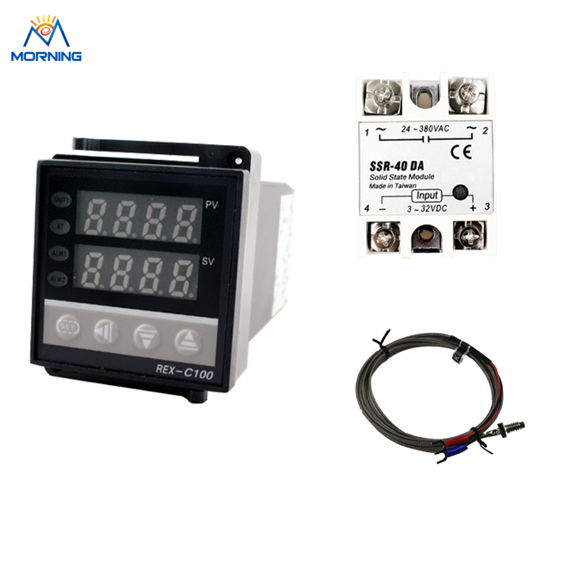 REX-C100 + Max.40A SSR Relay + K Thermocouple Dual digital PID Temperature Controller