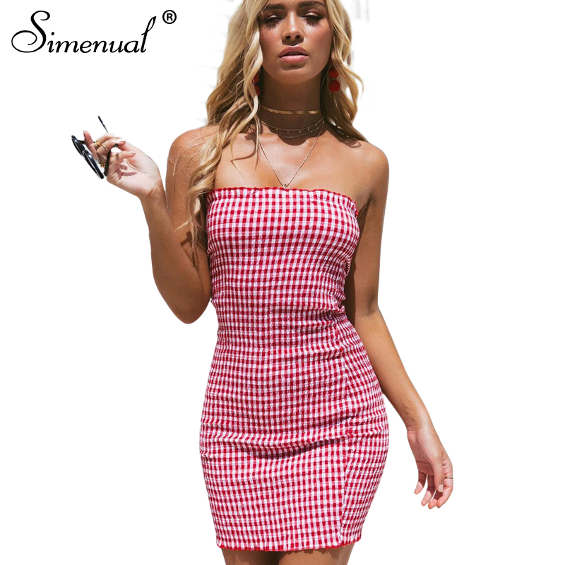 be8aa52ba802 Simenual Strapless plaid summer sundress 2018 ruffles ruched elastic sexy  vestidos off the shoulder slim red