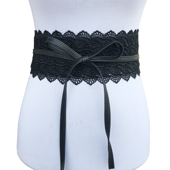Badinka 2018 New Black White Wide Corset Lace Belt Female Self Tie Obi Cinch Waistband Belts for Women Wedding Dress Waist Band 1