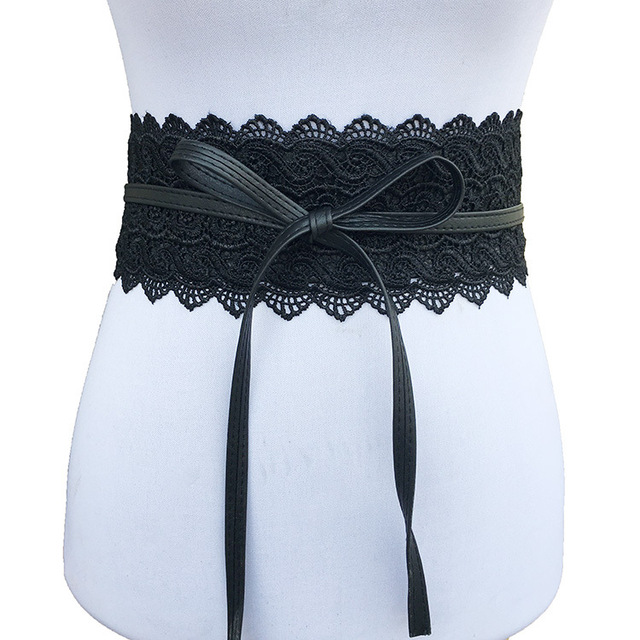 Badinka 2019 New Black White Wide Corset Lace Belt Female Self Tie Obi Cinch Waistband Belts