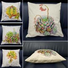 Succulent Green Plant Pillow Cover Meaty Cactus Cushion Case Cotton Linen Sofa for Home Decorative Pillowcase