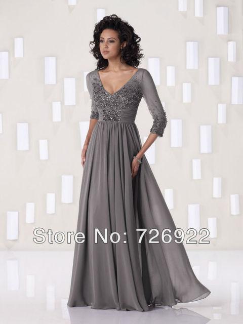 c4b5f0daa7 Custom Free Shipping Floor Length Grey Chiffon Tall Mother Of The Bride  Dress With Sleeves 2013